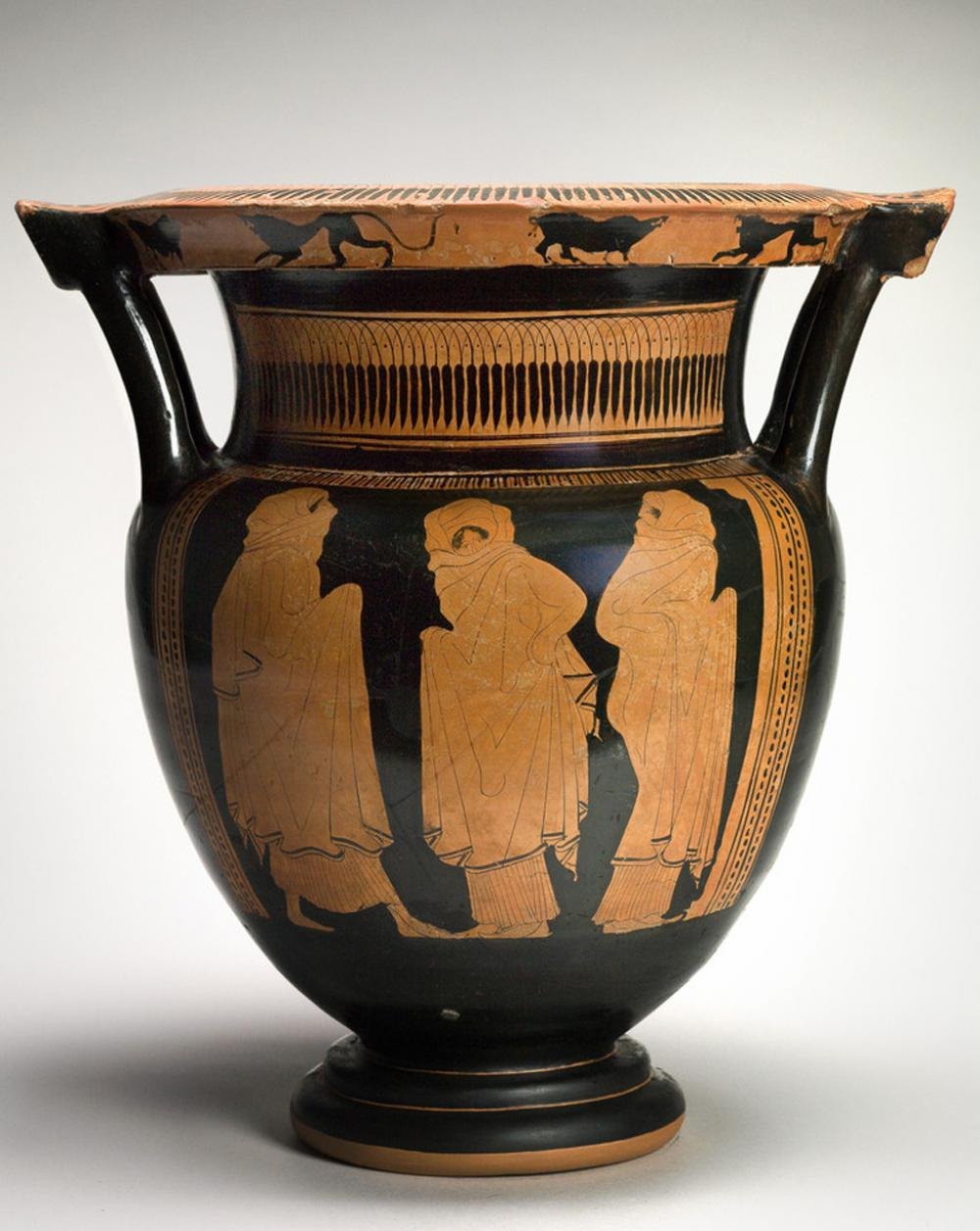 Eupolis Painter, Column krater with veiled dancers, 450-440 BCE