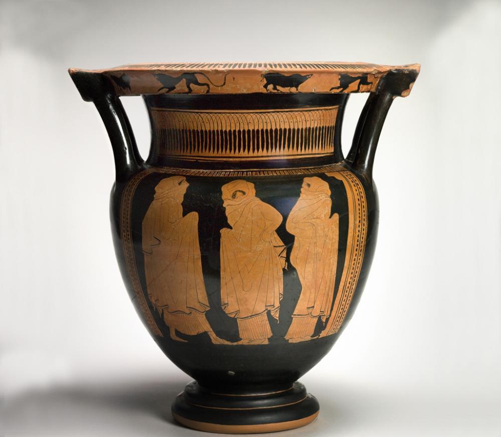 Eupolis Painter (Greek, ca. 450-440 BCE), Column krater with veiled dancers