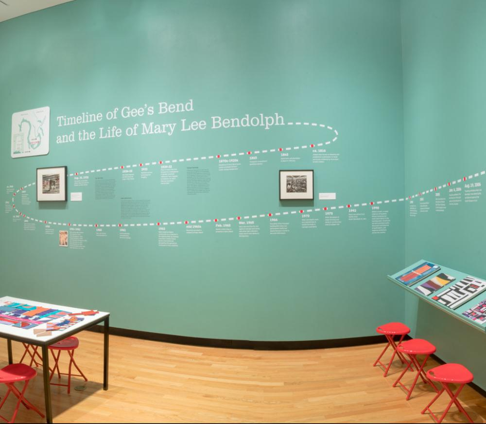 Piece Together timeline installation view, Mount Holyoke College Art Museum, January 2018