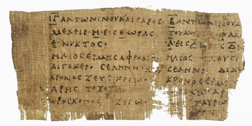 Egyptian, Papyrus fragment; Horoscopes of two persons