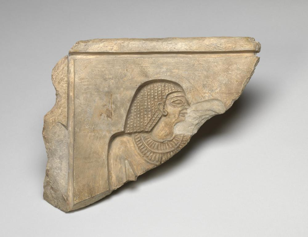 Egyptian, Stela fragment with man