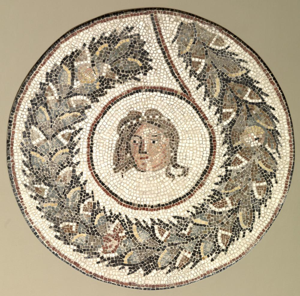 Roman, Floor mosaic with a head encircled by a garland