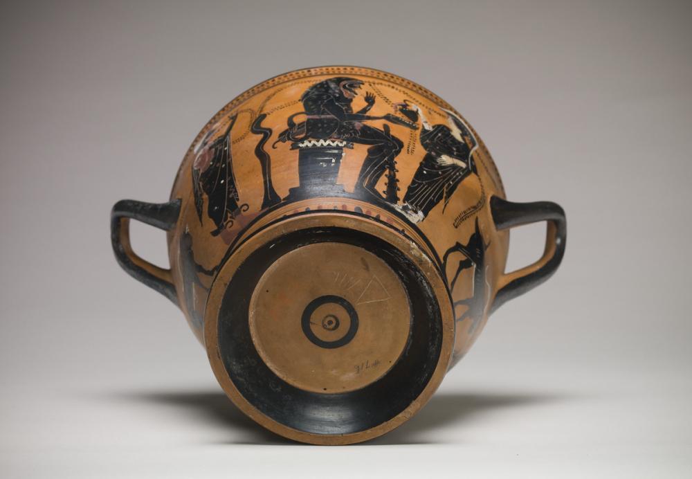 Theseus Painter, Skyphos with Herakles, Athena, and Hermes