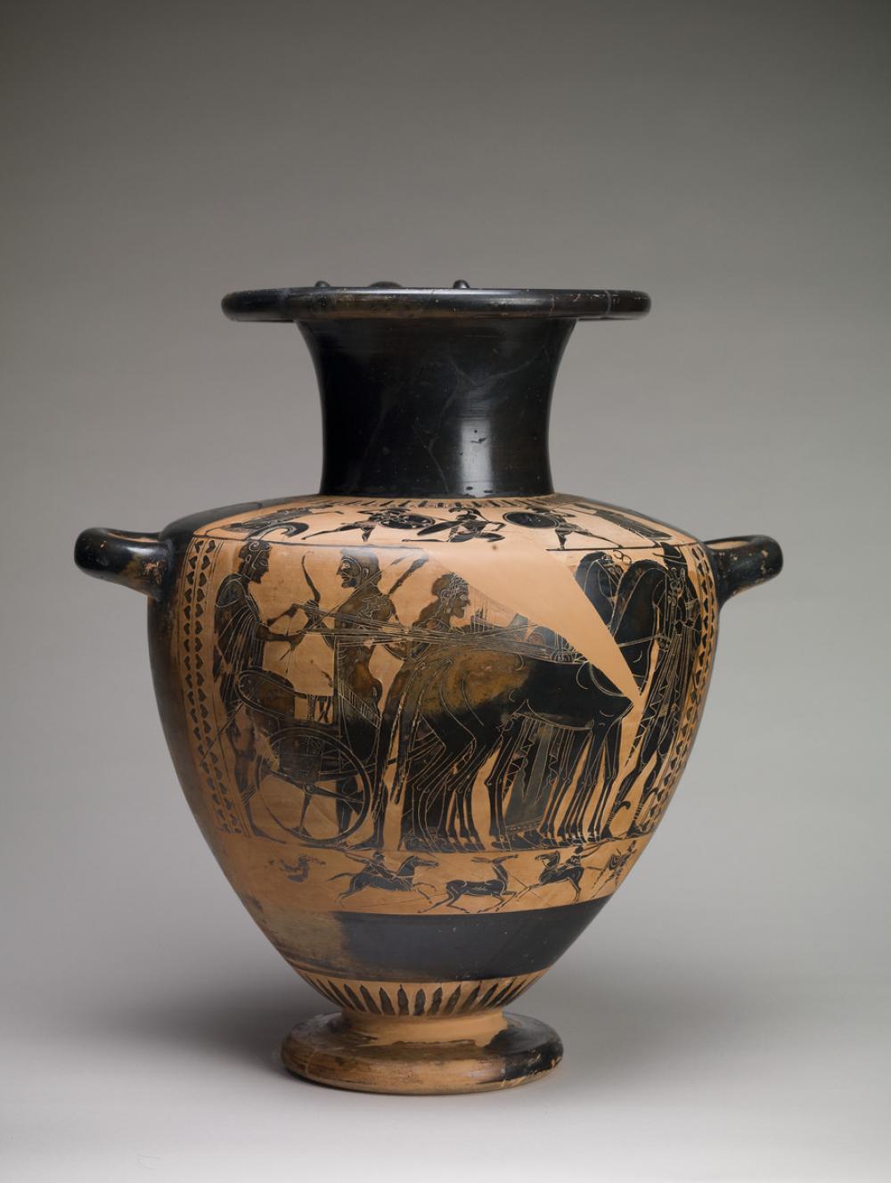 Eye-Siren Painter, Shoulder hydria with Athena, Herakles, Apollo, and Hermes