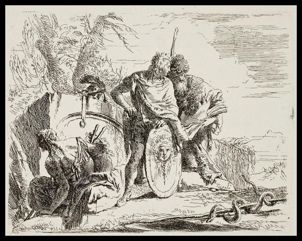 Giovanni Tiepolo, Young Soldier and the Astrologer from the series Vari Capricci Inventati ed incisi dal celebre Gio. Battista Tiepolo..., ca. 1743