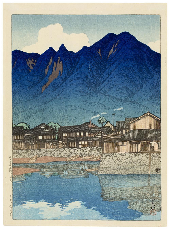 Hasui, Kawase, Shimabara minato Mayuyama [Mayu Mount at the Port of Shimabara], from the series Nihon Fukei Senshu [Selected Views of Japan]
