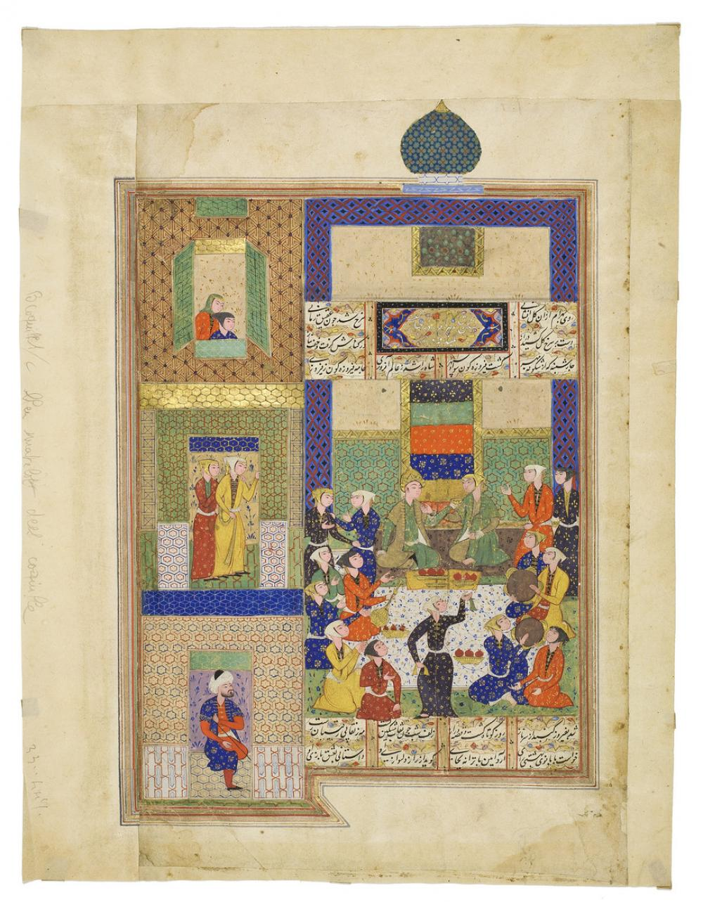 Persian, Bahram Gur visits the Green Pavilion, from the Haft Paykar (Seven Beauties)