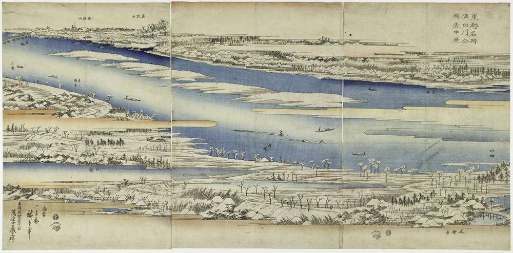 Utagawa Hiroshige I, Sumidagawa zenzu setchū kei, from series Tōto meisho