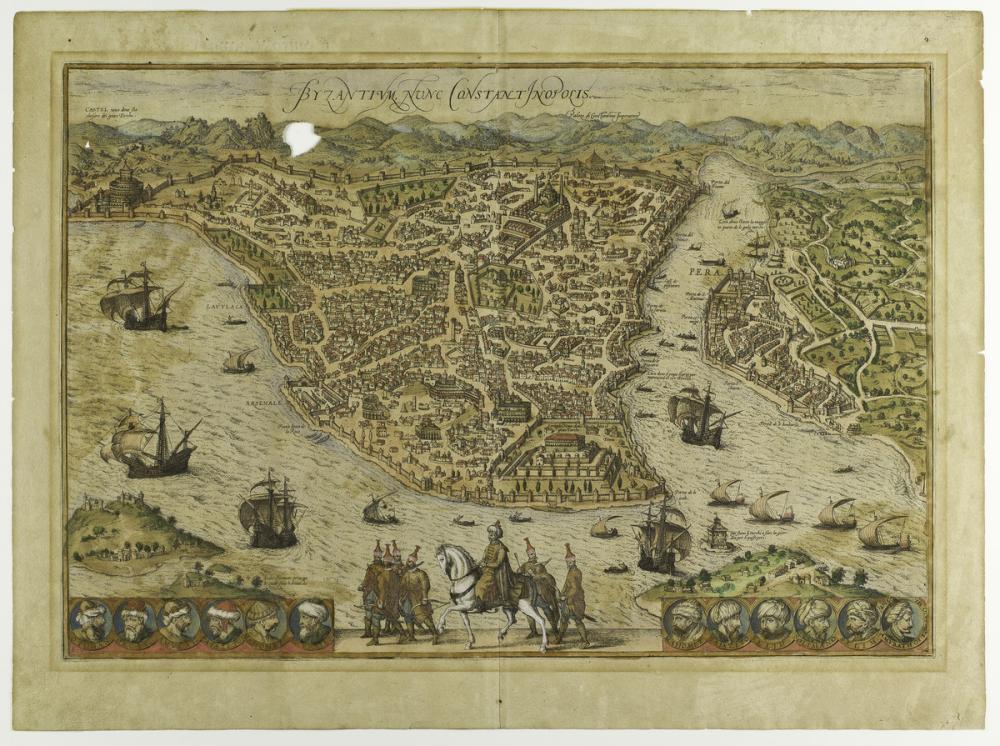 Braun, Hogenberg; Byzantium nunc Constantinopolis (Byzantium now Constantinople)