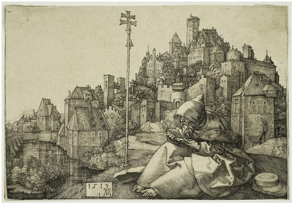 Dürer, Albrecht, Saint Anthony Before a City
