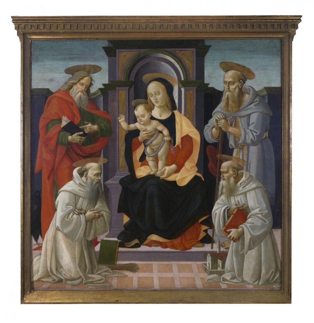 Bartolomeo di Giovanni, Madonna and Child with Saints John the Evangelist, Benedict, Romuald and Jerome