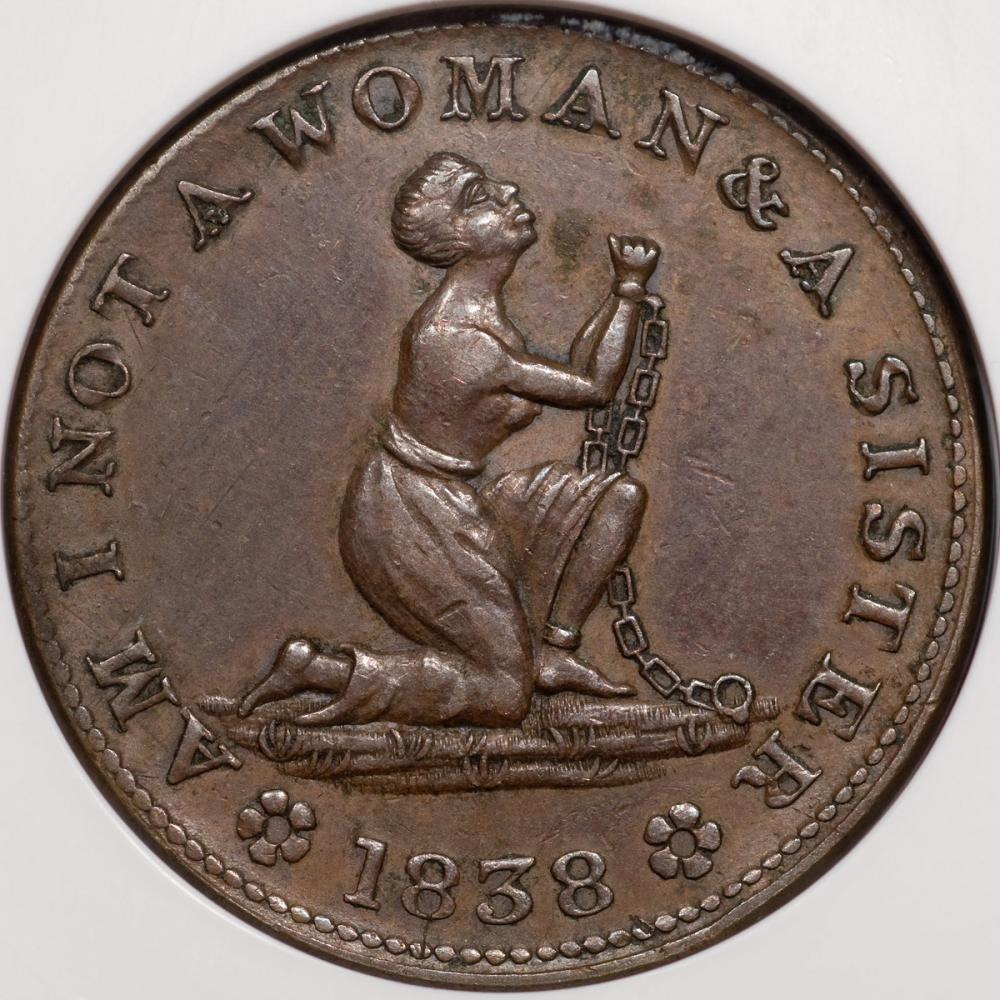 """Gibbs, Gardner, and Company, """"Am I Not A Woman & A Sister"""" Anti-Slavery Hard Times Token"""