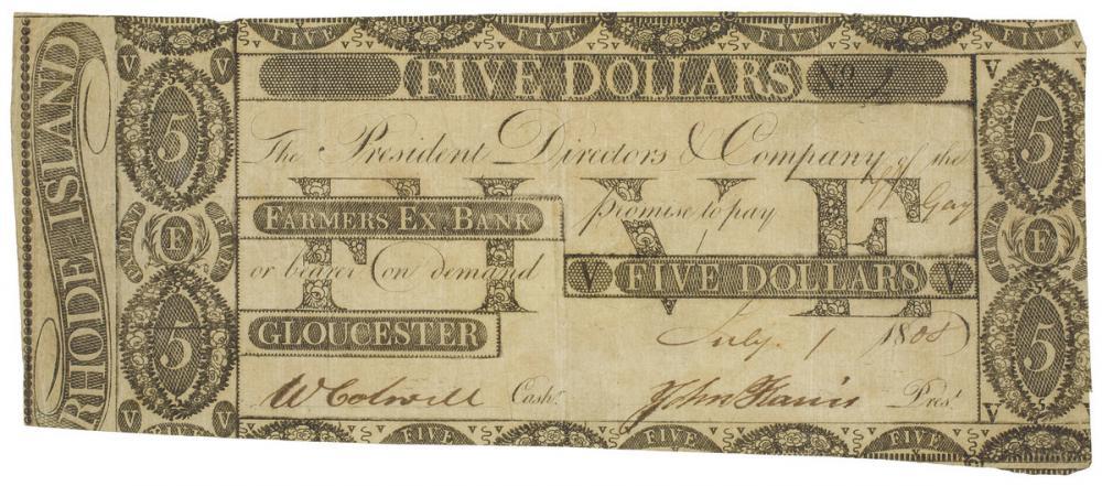 Farmer's Exchange Bank, five dollar note