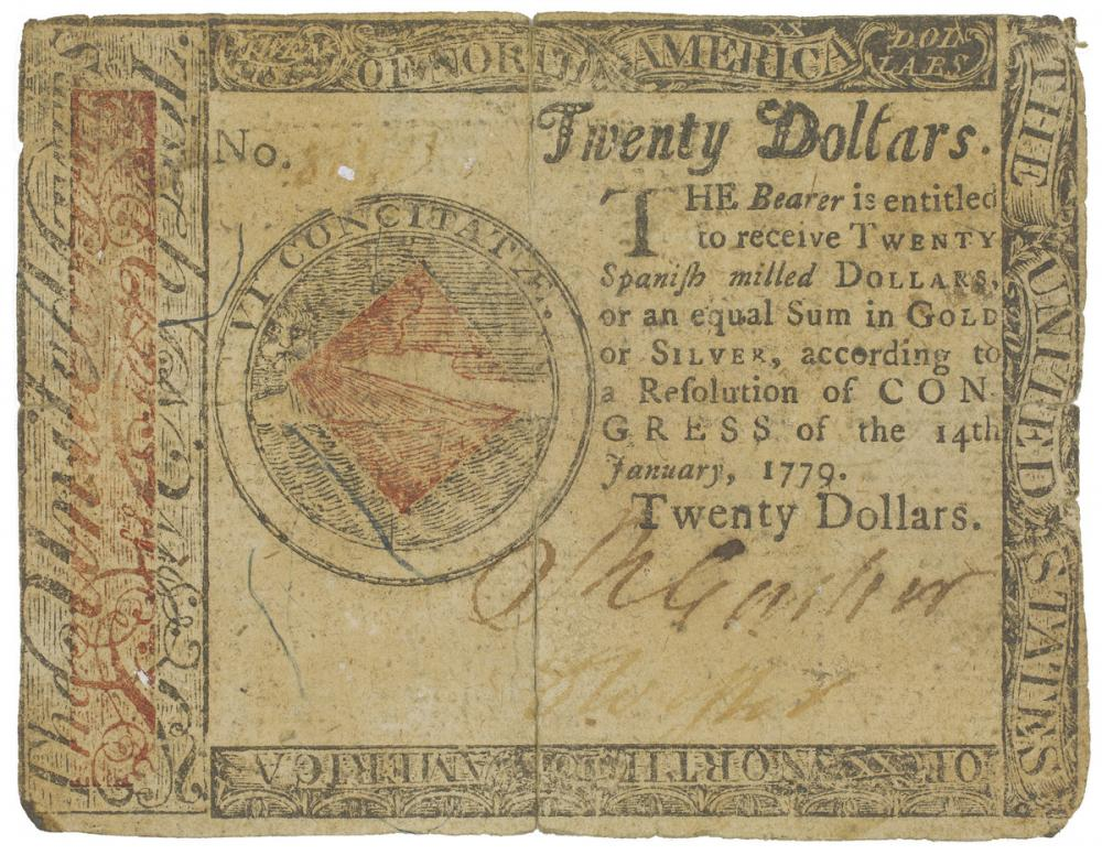 United States of America; Hall and Sellers (printers), Twenty dollar note