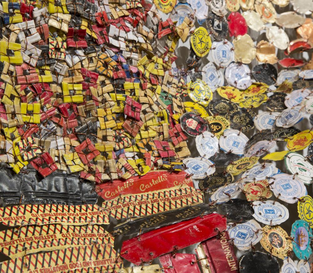 El Anatsui (Ghanaian, b. 1944) New World Map (detail) Aluminum and copper wire, 2009