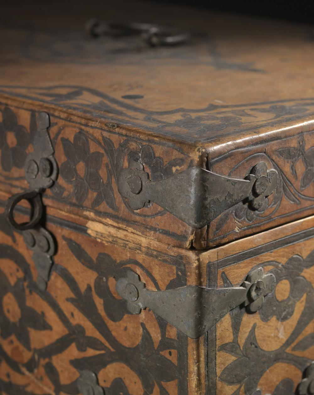 Unknown, Fidelia Fiske's document box, mid 19th century, wood, leather, iron, and paper