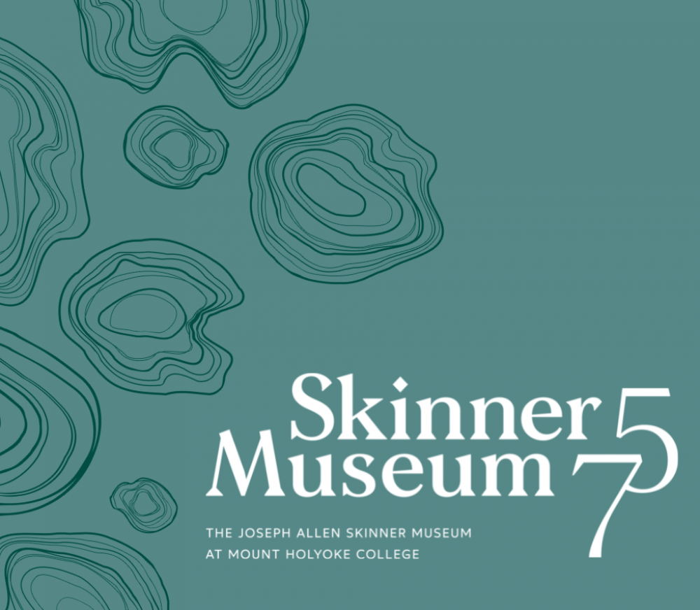 """A teal background with dark green curvy and irregular concentric circular on the left side. On the bottom right, white text that reads """"Skinner Museum 75: The Joseph Allen Skinner Museum at Mount Holyoke College."""""""