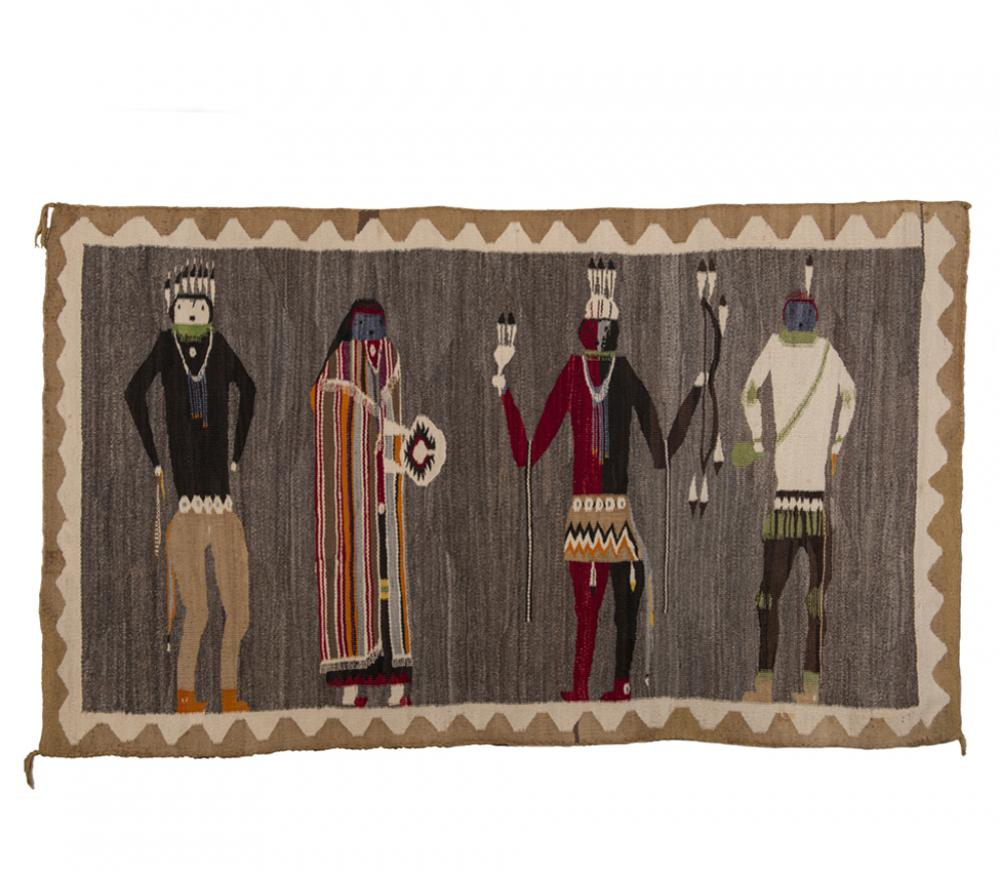 Unknown artist (Navajo), Four Nightway participants, 1930s, handspun wool, From the Collection of Rebecca and Jean-Paul Valette