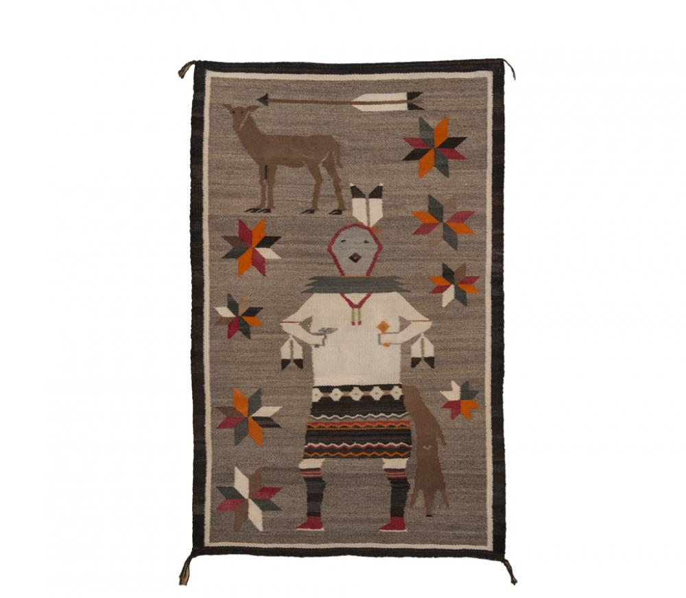 Unknown artist (Navajo), Gallegos-style dancer with deer, ca. 1930s, handspun wool, From the Collection of Rebecca and Jean-Paul Valette