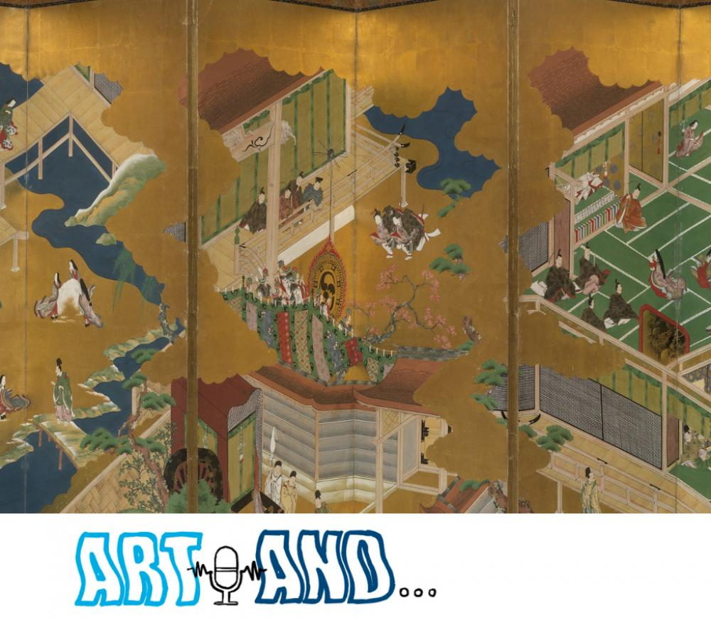 Masamitsu Kano, also known as Eishunsai (Japanese, d. 1765), Six-fold screen with scenes from Tale of Genji (detail)