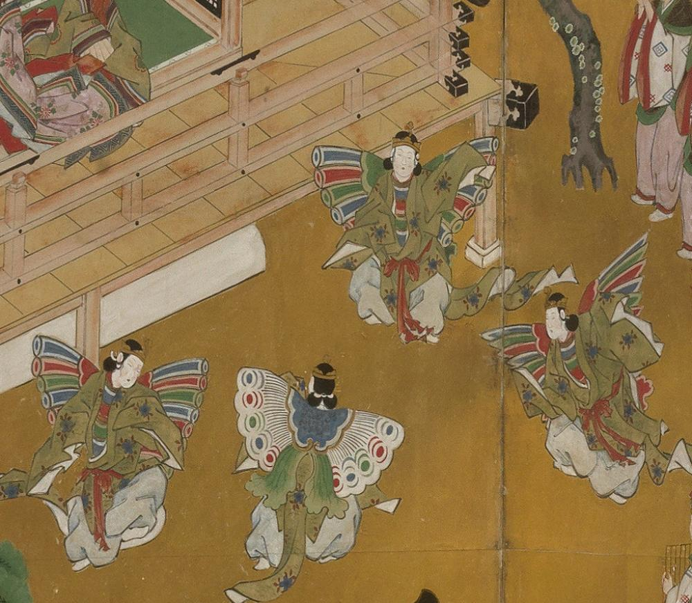 Masamitu Kano, also known as Eishunsai (Japanese, d. 1765), Six-fold screen with scenes from Tale of Genji (detail), mid 18th century