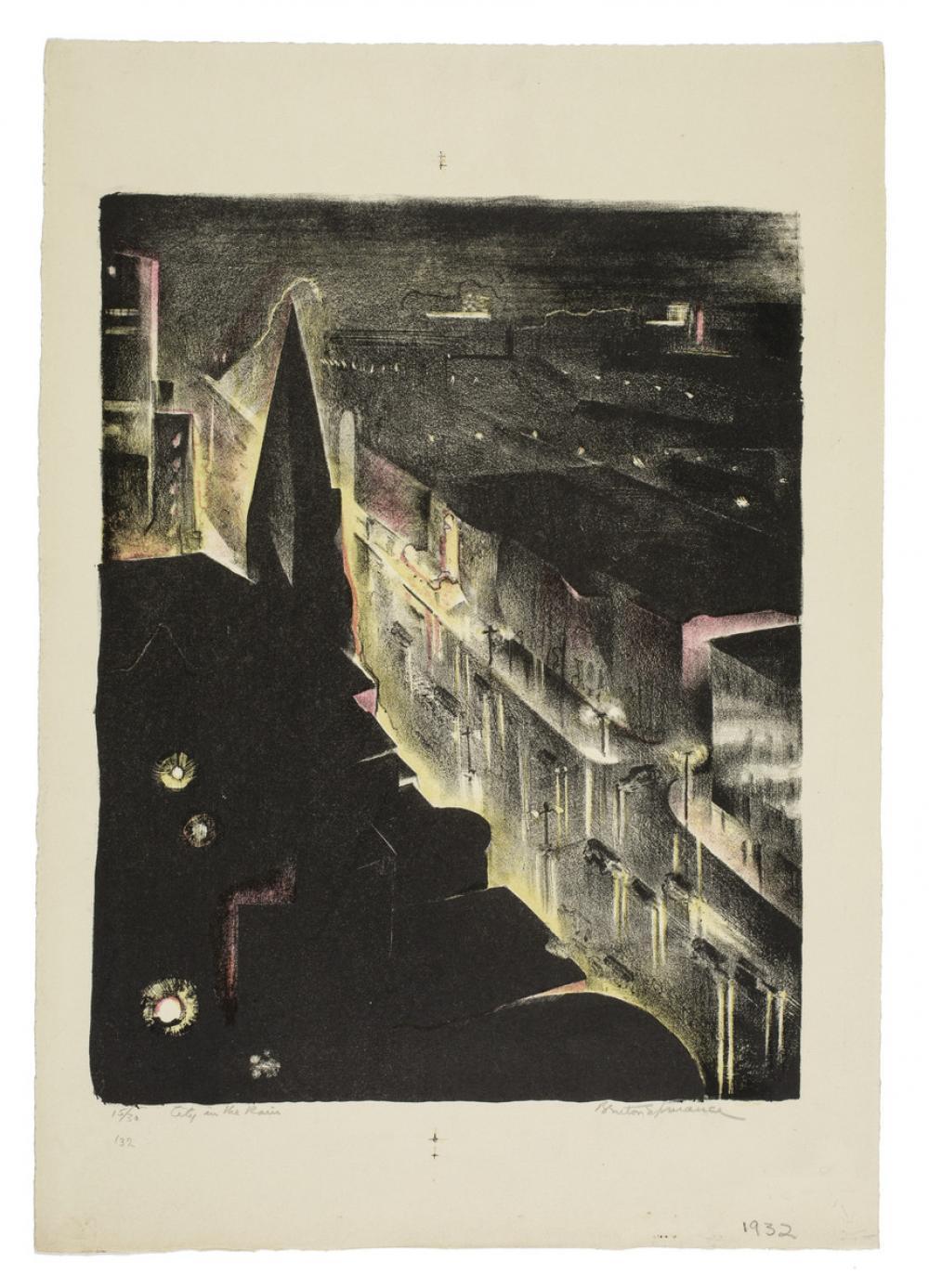 Benton Spruance (American, 1904-1967), City in the Rain, 1932