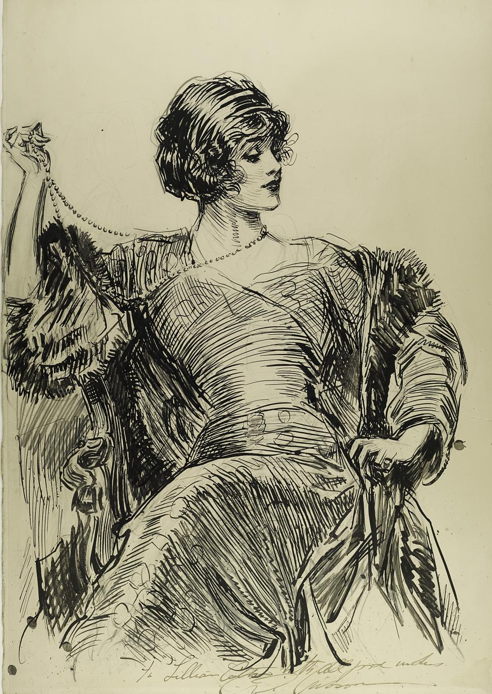 Charles Dana Gibson, American (1867-1944), Portrait of a Woman
