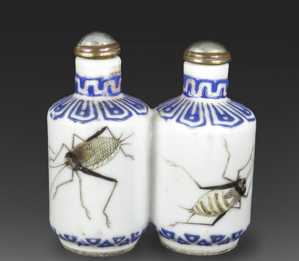Maker Unknown (Chinese), Double snuff bottle with crickets, late 19th century