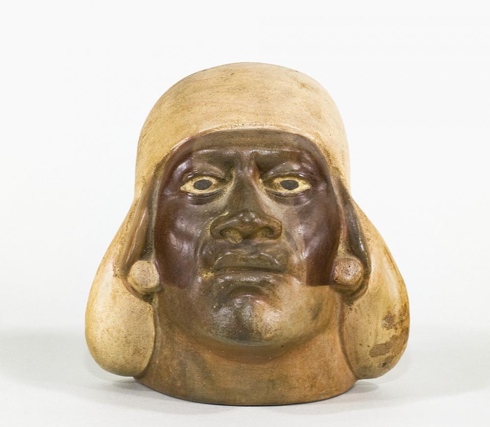 Unknown (Moche), Portrait head vessel, 200-500 CE