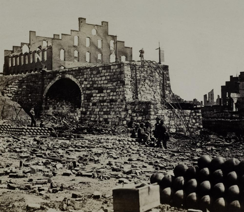 Alexander Gardner (American, b. Scotland, 1821-1882), Incidents of the War, Ruins of Arsenal, Richmond, VA (detail), 1865 April
