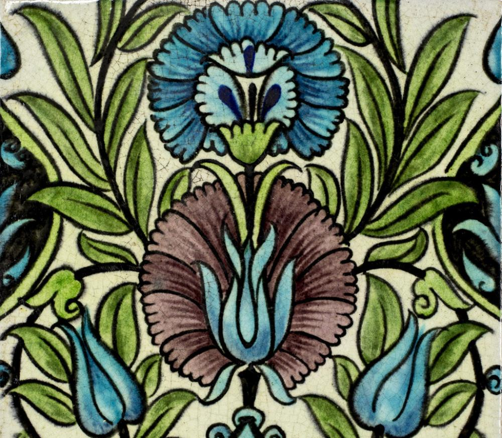 William De Morgan (British; English, 1839-1917), Iznik-inspired tile (detail), 1882-1888 design; 1898 production
