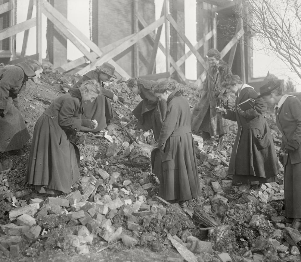 Professor Mignon Talbot and students after the Williston Hall fire, December 1917