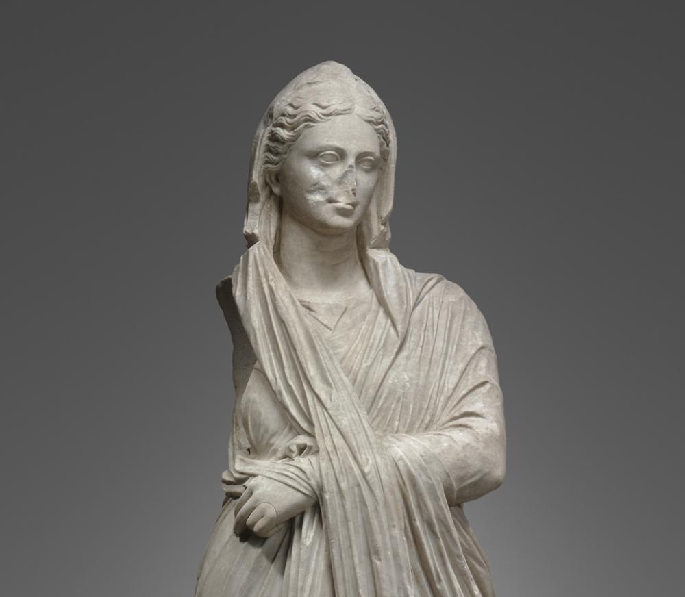 Portrait Statue of a Woman, Roman, 1st century B.C.–early 1st century A.D. Marble. Yale University Art Gallery, Yale University Art Gallery