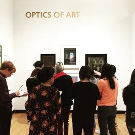 This morning @mhcartmuseum received a welcome visit from Kerstin Nordstrom's Foundations of Physics class, who were investigating the role of mirrors, lenses, and optics within works of art & material culture. We always love when our #encyclopediccollection is able to broaden students' perspectives on what they are learning in class! #teachingmuseum #objectbasedlearning