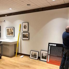"It's all hands on deck at the @mhcartmuseum as we prepare for our upcoming exhibit ""Mount Holyoke Afire."" Opening on February 5 in the Museum Lobby, the show examines three devastating fires that occurred at Mount Holyoke, destroying Seminary Hall in 1896, Williston Hall in 1917, and Rockefeller Hall in 1922. Make sure to stop by next week to check it out!"