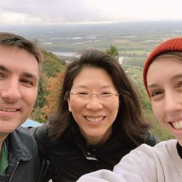 🏔Happy Mountain Day! On this cloudy morning @mhcartmuseum staffers John, Tricia, and Nina made the journey up to Summit House and enjoyed the view and a sweet treat 🍦. . . #mtndaymhc @mtholyoke