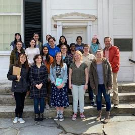 "💥FLASHBACK FRIDAY: One of the things we will miss the most this semester are the class visits through our #teachingwithart program. Last Wednesday, Professor Chris Benfey's literature class, ""The American Essay,"" trekked over to the Skinner Museum to explore the collection for their own essay writing inspiration. Students were captivated by everything from the decorative arts objects in the glass cases to the baby carriage and rocking horses in the basement!"