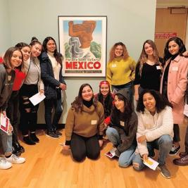 "💥FLASHBACK FRIDAY to two fantastic workshops for student organizations created and led by Art and Community Engagement Intern, Emilee Aguerrebere. The first three photos are from a visit by La Unidad (Latinx Student Association) where they participated in a museum wide scavenger hunt followed by group discussions about Latinx art in the galleries. The following three photos are from a visit by AWAZ (South Asian Student Association) where Emilee designed a ""Describe and Go"" exercise. In pairs, one person would face a work of art and describe it to their partner facing away, who would then draw what they hear. Both events brought thought provoking perspectives on our collection as well as lots of fun and laughter!"