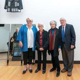 This week we conclude our throwback celebration of MHC's 2018-19 Leading Woman in the Arts, internationally acclaimed artist Joan Jonas '58, sponsored by the Weissman Center for Leadership. In October 2018, Jonas '58 presented her illuminating lecture on her artistic career and lifelong inspirations, in conjunction with her solo exhibition at the Mount Holyoke College Art Museum. . Watch the lecture on our website and be as mesmerized as the live audience was that special evening (link in bio). Pictured here are Jonas '58, MHC President Sonya Stephens, and Harriet ('58) and Paul Weissman. . #joanjonas