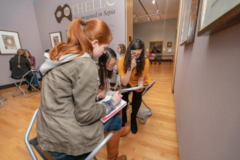 """Activist Shakespeare"" students working in the galleries, Oct 1 2018"