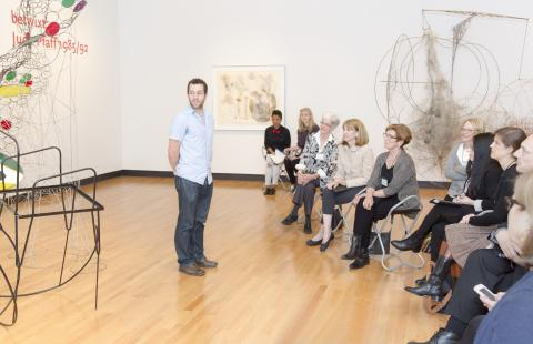 "Assistant Professor of Mathematics Dylan Shepardson and students in his ""Entropy"" seminar present to the Art Museum Advisory Board"