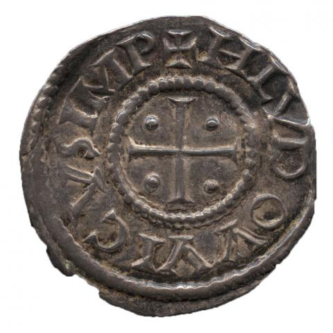 Louis I (minted under), Carolingian; Frankish; French, Denier of Louis I