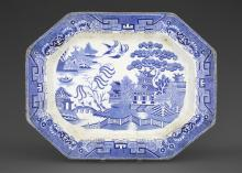 Unknown (English; British), willow pattern platter, ca. 1820