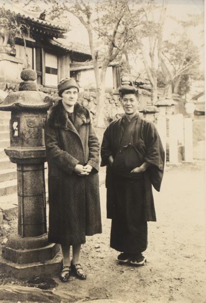 Blair with K. Hayashi at Asuka Temple of Nara, Japan, taken on  December 5, 1927.