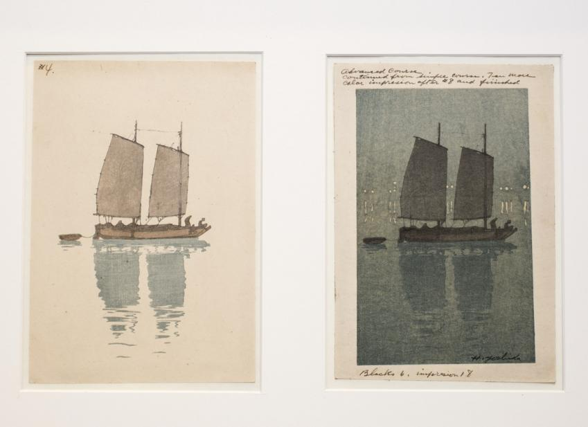 Two block impressions in the process of printing Hiroshi's Hansen (Sailboats)