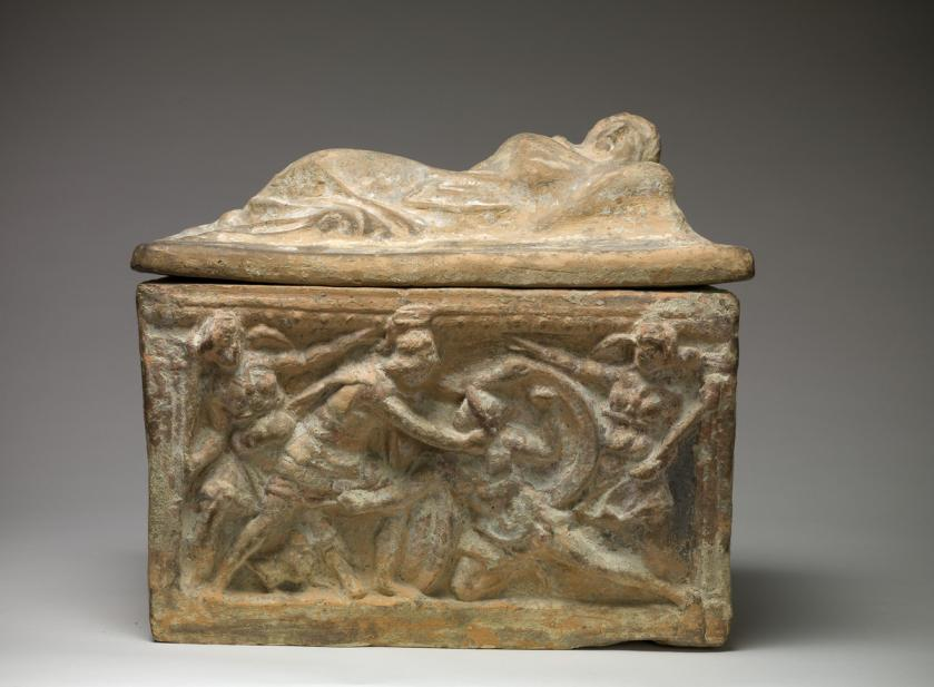 Etruscan, Cinerary urn with lid and scenes from Aeschylus