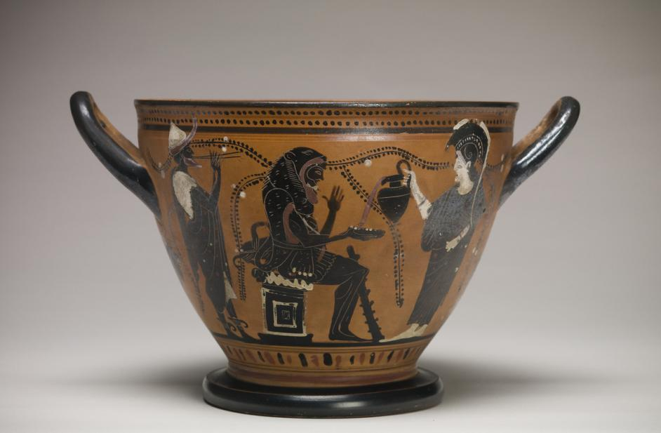 Theseus Painter, Skyphos with Herakles, Athena, and Hermes