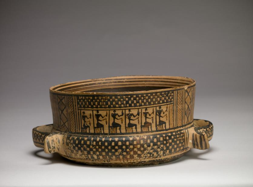 Greek, Ribbon-handled bowl with a mourning ritual