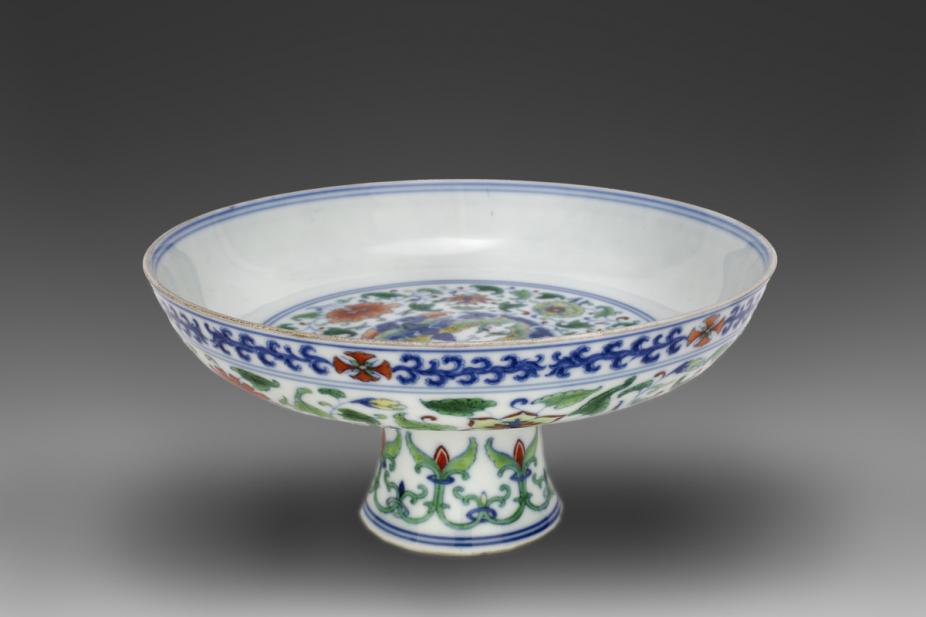 "Chinese, Stem cup with ""circled butterflies"" decoration"