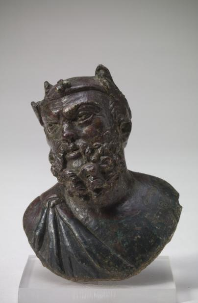 Roman, Decorative mount from a bed with a bust of Silenus